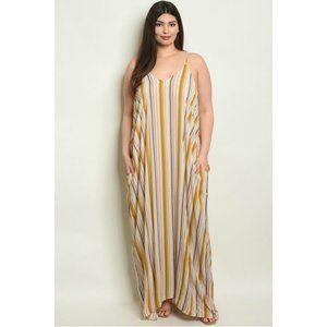 Love In Mustard Stripe Harem Maxi Dress Size 2X